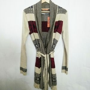 Belldini Aztec Belted Colorful Wrap Cardigan